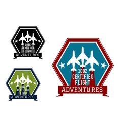 Flight adventures emblem or label vector image