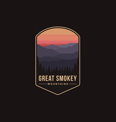 Great smokey mountains national park patch vector