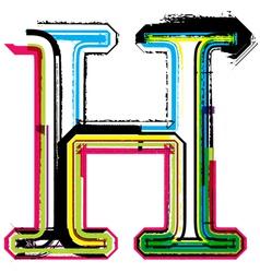 Grunge colorful font Letter H vector