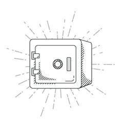hand draw strongbox cartoon vector image