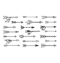 hand made arrows for bow set contour black vector image