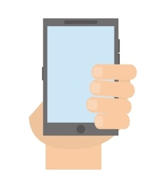 Hand with grey cellphone vector