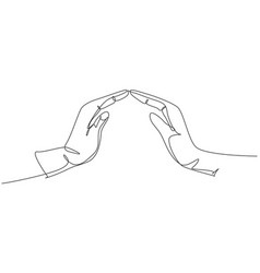 hands protect continuous one line drawing hand vector image
