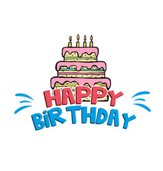 happy birthday cake white background image vector image