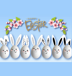 happy easter funny bunnies with easter eggs vector image