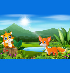 happy fox on the beautiful nature vector image