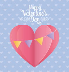 happy valentines day origami paper heart love vector image
