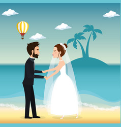 Just married couple in the beach vector