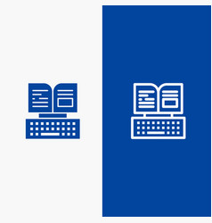 Key keyboard book facebook line and glyph solid vector