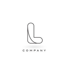L monogram letter logo with thin black monogram vector