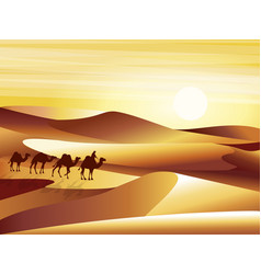 Landscape background desert with dunes barkhans vector