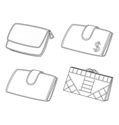 Leather wallets set contour vector image