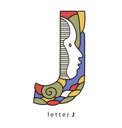 Letter j with mask vector