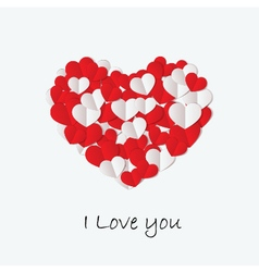 love day card with cut paper heart vector image
