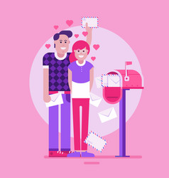 loving couple receiving valentine letters vector image