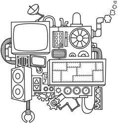 machine line art vector image