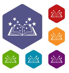 Magic book icons set vector