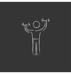 Man exercising with dumbbells Drawn in chalk icon vector
