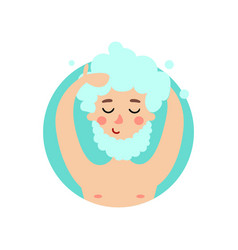 man washing hair and beard with shampoo cheerful vector image