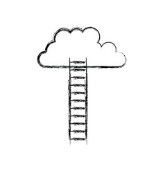 monochrome blurred silhouette of ladder to cloud vector image