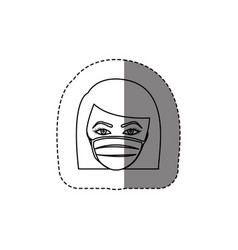 Monochrome contour sticker with head of nurse with vector