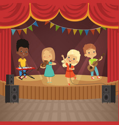 Music kids band on concert scene vector