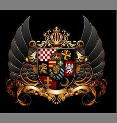 Ornamental heraldic shield highly realistic vector