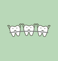 Orthodontics teeth or dental braces vector