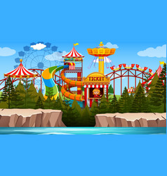Outdoor fun park scene empty vector
