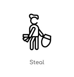 Outline steal icon isolated black simple line vector