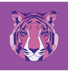 Pink lined low poly tiger vector