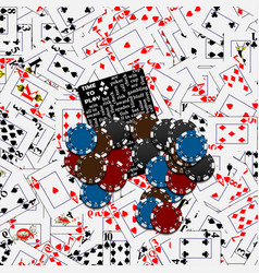 Poker background with playing cards chips vector