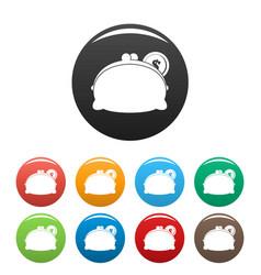 purse woman icons set color vector image