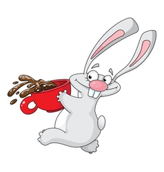 rabbit and cup vector image