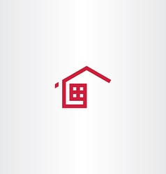 red icon home house real estate symbol sign vector image