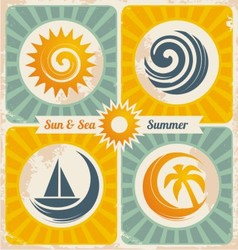 Retro summer holiday poster vector image vector image