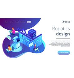 Robotics developer isometric 3d landing page vector