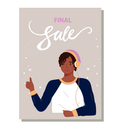 Sale banner with girl or gyu makes gesture thumbs vector