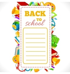 Schedule with school supplies vector