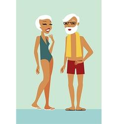 Seniors in swimming pool vector image