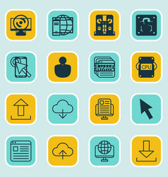 Set 16 online connection icons includes send vector
