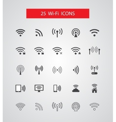 Set isolated wireless icons vector