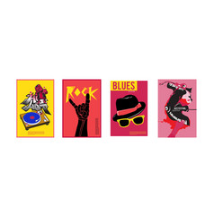 Set music event poster design template rock vector