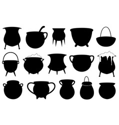 Set of different halloween witches pots vector