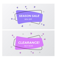 set of violet sale tag in trendy colors and design vector image