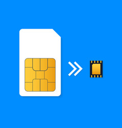 sim card and esim embedded sim card icon symbol vector image