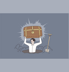 Smiling man hunter find treasure in chest vector