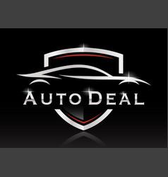Sports car silhouette shield logo vector