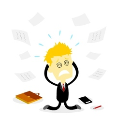 Stressed Bussiness Man Holding Head vector image