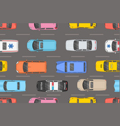 top view of colorful cars seamless pattern vector image